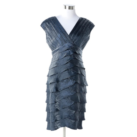 Adrianna Papell Dresses & Skirts - Adrianna Papell Satin Shutter Pleated Dress 8